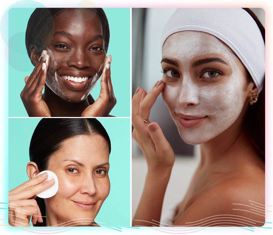 facial cleanser, alcohol-free toner and overnight face mask