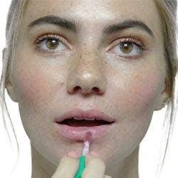 Lip gloss application with JoAnn (Plum Mauve)